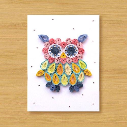 手工卷纸卡片:可爱猫头鹰 a(生日卡,万用卡,感谢卡)
