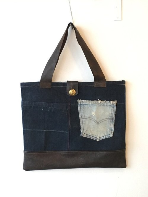 denim×leather tote bag    ■tf-121