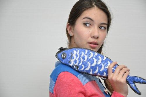 藍色沙丁魚单肩包