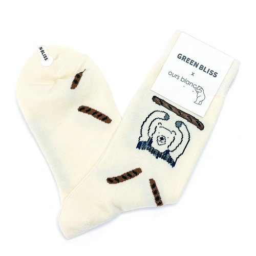GREEN BLISS 有機棉襪 - [聯名系列] OURS BLANC - Baguette 吃法式麵包的熊 (米) 中長襪 (男/女)