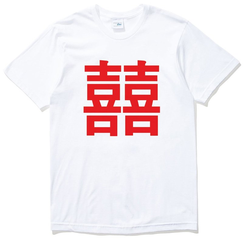 Chinese Joy 2 Red Short Sleeved T Shirt White Chinese Wedding