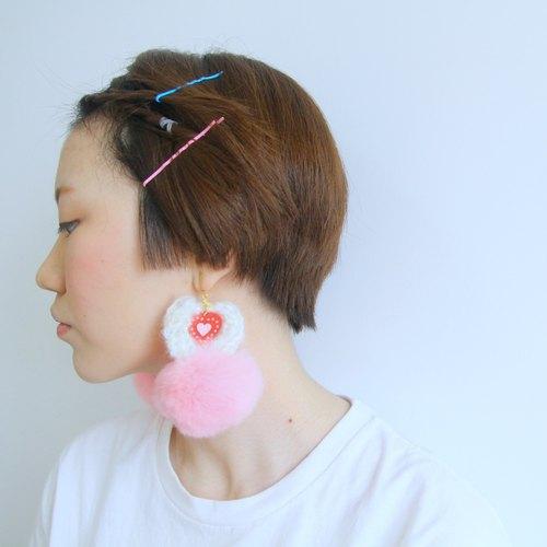 兔毛球 粉色毛球 木质手绘爱心 毛线圈 耳环耳夹