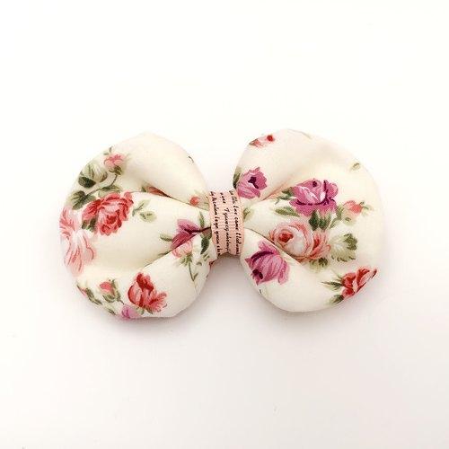 粉红玫瑰 棉布啾啾.蝴蝶结发束