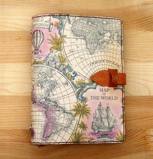 專屬訂單 - 世界地圖 真皮活頁夾可拆萬用手冊/筆記本/書衣 A5
