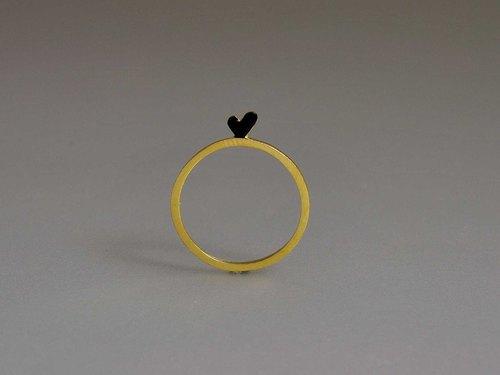 纯银镀黄金表白迷你可爱简约桃心尾戒指 爱心 生日表白爱情纪念日礼物