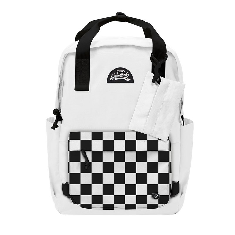 Grinstant Mashable 15.6-inch Rear Backpack-Black and White Series (White with Checkerboard)