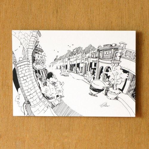 【一色】系列手绘风景明信片『台湾 三峡老街』