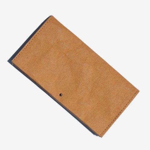 MTS|水洗牛皮紙長夾 · 簡約純色 · 棕