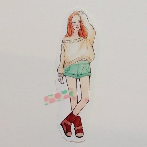 ✦鵝黃寬鬆毛衣女孩 / 全身單張貼紙
