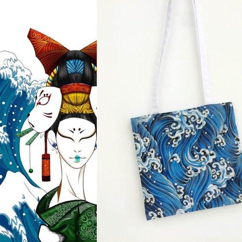 原创设计日系和风可爱海浪纹印花帆布单肩包