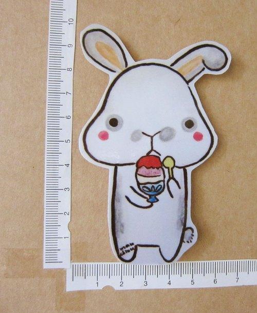 手绘插画风格 完全防水贴纸 灰点点兔吃刨冰
