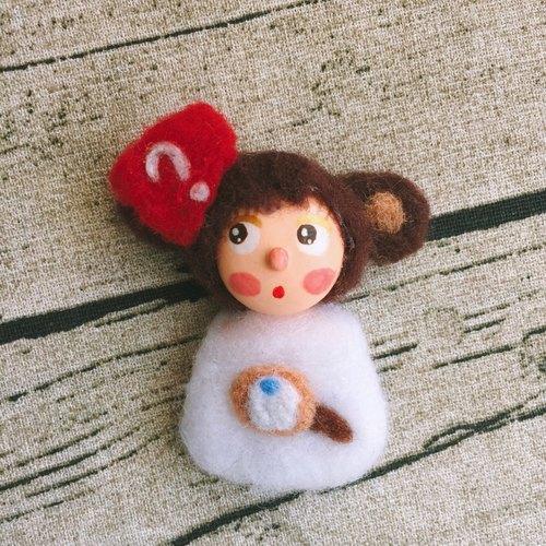娃娃可爱猴子女孩超轻粘土纸黏土陶土胸针别针饰品wh