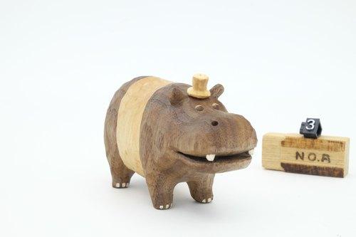 疗愈系木雕小动物_大河马memo夹 3 (原木手工雕刻)