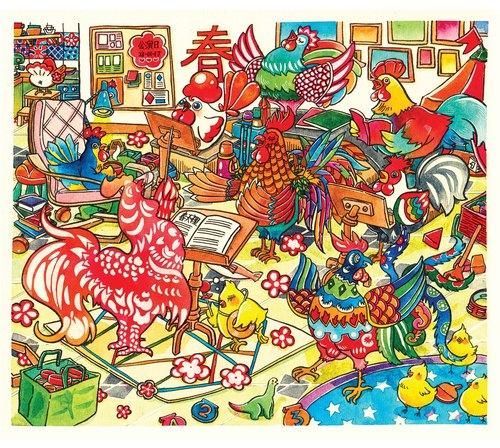 水彩手绘插画 | 原稿 | 画作 | 挂划 | 装饰画 【大公鸡合唱团】