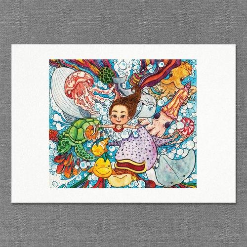 【a4】水彩手绘插画 | 画作 | 摆饰 | 挂画 | 复制画|海底世界【蓝色