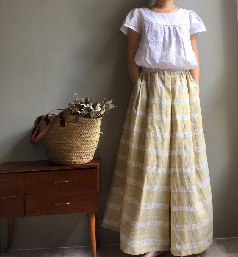 / I want to go to the hair / yellow plaid cotton long long skirt
