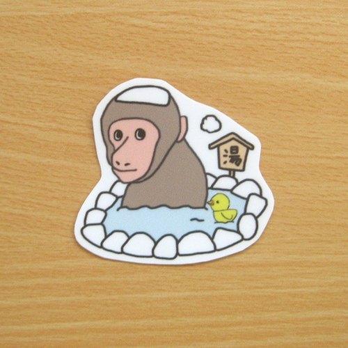 猴子泡溫泉  防水貼紙