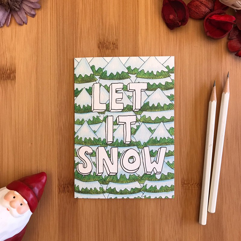 LET IT SNOW Christmas card hand-painted illustration of ...