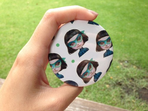Kiddodog - Green Masks pattern - Pin - brooch - limited edition.