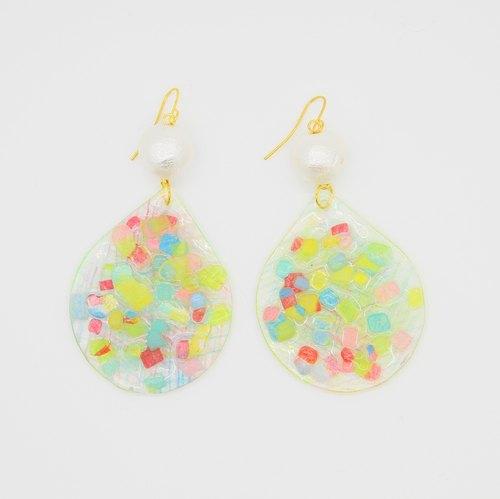 white -虹の碎屑- 色彩手绘晶莹颗粒亮面手工烤制耳环耳夹(彩色线条款