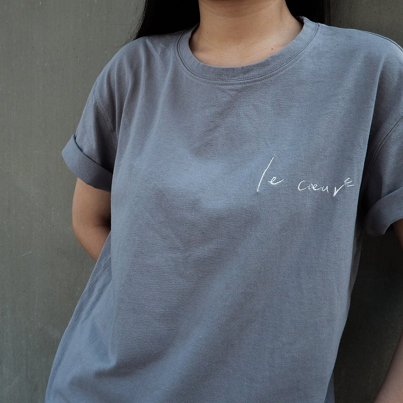 le cœur/blue gray/cotton and linen short sleeve top