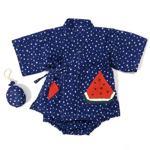 日式幼兒家居服 甚平 西瓜甚平 藍底白點點