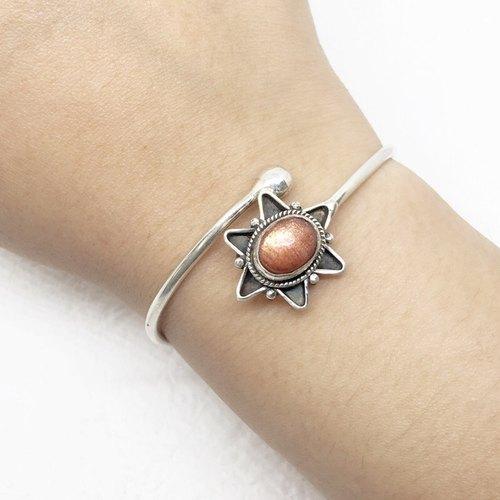 太阳石日光石925纯银星星设计手环 尼泊尔手工镶嵌制作
