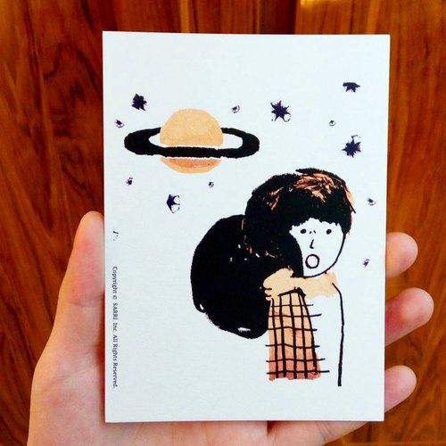 「外太空」(可制作a3大小的海报) 生日卡 设计 著色 插画 绘本 卡片