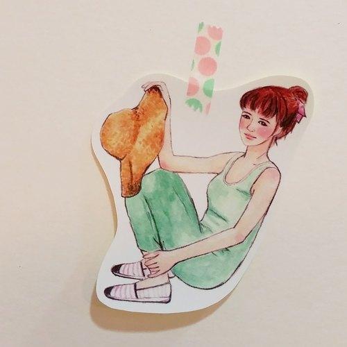 ✦大草帽洋裝女孩 / 全身單張貼紙