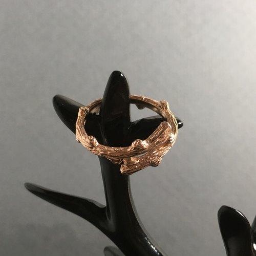 925钝银 玫瑰金树枝戒指