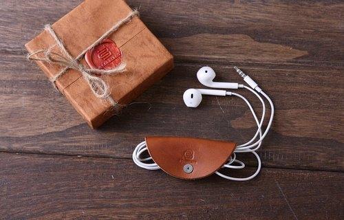 手工牛皮耳機收納包數據線收納包充電線收納皮包收納整理包