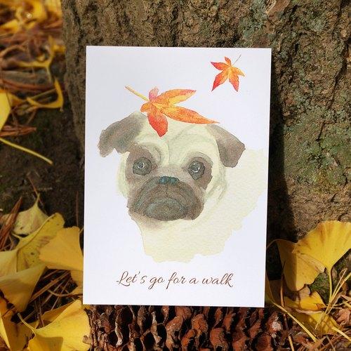 水彩画作 可爱 动物 落叶