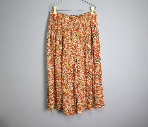 foak古著 夕阳橘复古花纹飘逸裤裙
