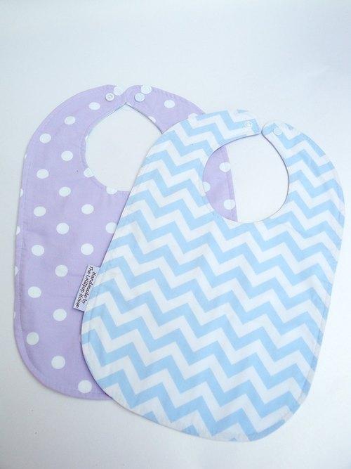 嬰兒口水巾 雙面圍兜 純棉 寶寶圍兜 Purple Dot/Blue Chevron