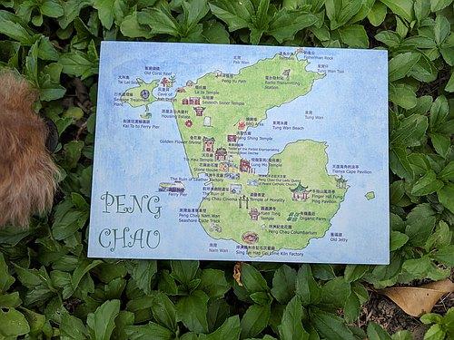 手绘明信片 – 香港离岛坪洲地图