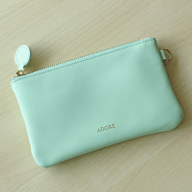 Handmade leather Coin Purse with Personalized Name Stamp - Mint Green (小銭入れ)