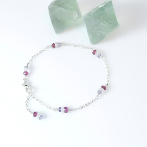 【ColorDay】 漫步里昂~法式純銀手鍊(丹泉石_石榴石_月光石)〈Tanzanite_Moon Stone_Garnet Silver Bracelet〉