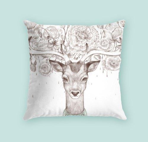 森系文艺 手绘鹿 抱枕
