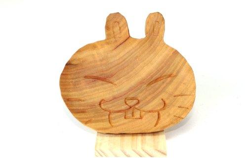 动物系列(兔子)木盘--再利用--纯手工--木头雕刻