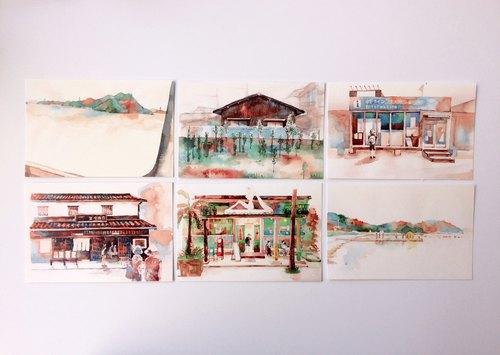 濑户内海 风景速写水彩明信片组(6张)