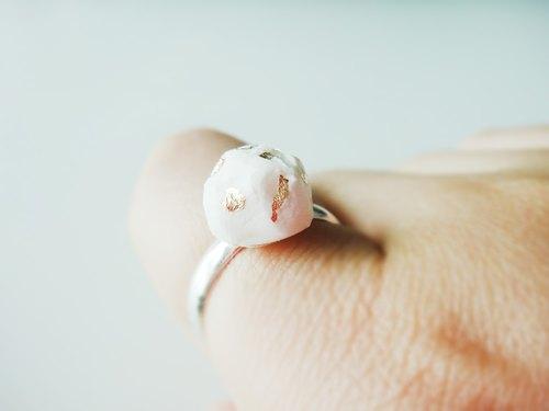 White Mineral Foil Ring-白色金銀古銅色戒指/手工手作/飾物禮物