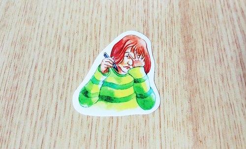 Bonnie 水彩手繪 渲染貼紙《一頭霧水女孩》