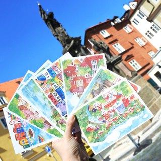 rami欧洲旅行水彩手绘风明信片套装组(7入) - 捷克奥地利义大利