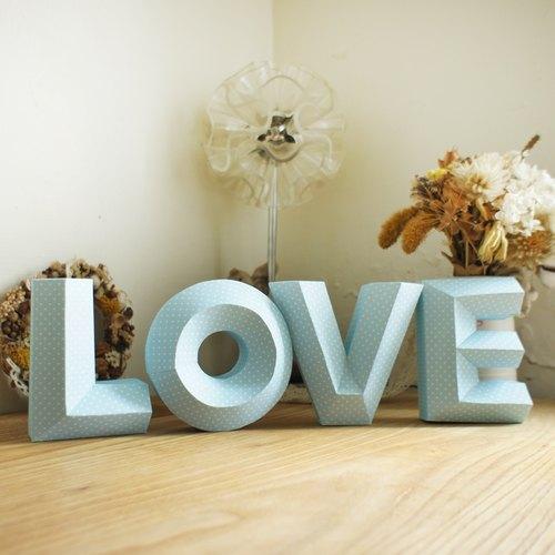婚纱道具 / 拍摄道具 / love / 立体字 大款蓝色水玉