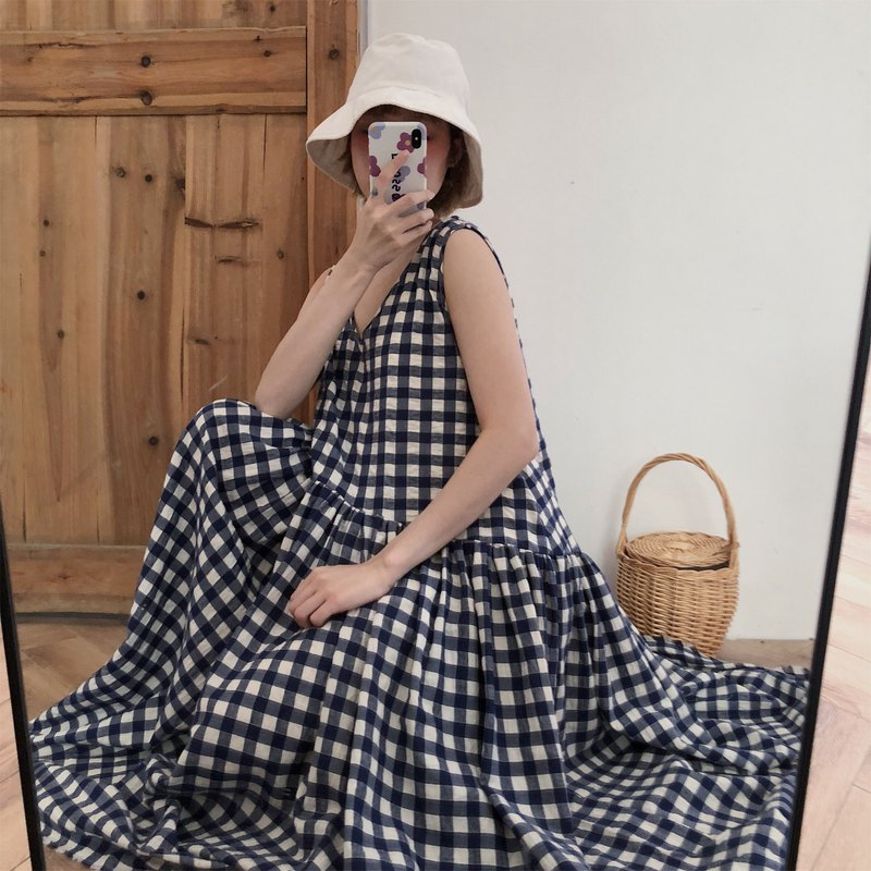 Bubble cotton blue and white plaid oversized loose dress