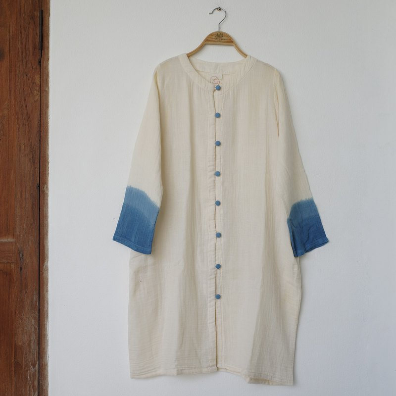 blue button indigo sleeve dress / jacket 100% cotton with hand-pockets
