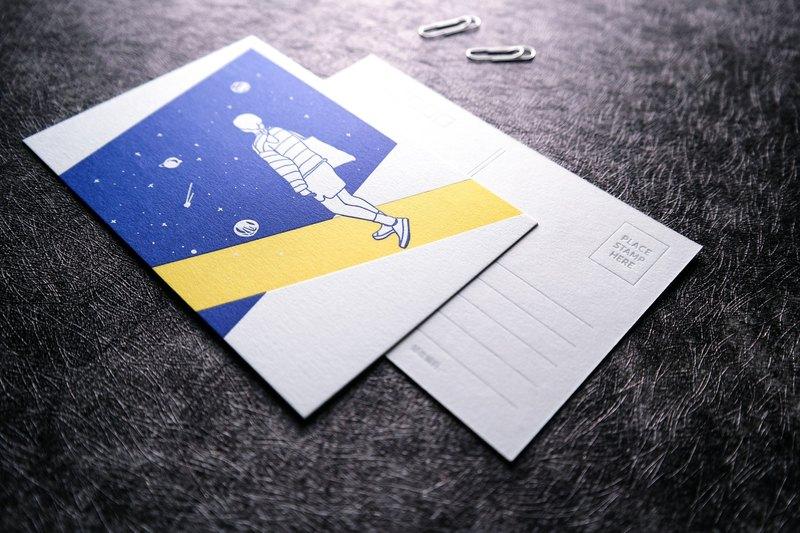"""""""星空主题""""手绘明信片,两张装,男孩女孩,情侣,letterpress活版印刷"""