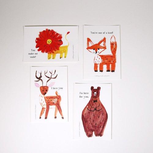 温暖动物系列明信片