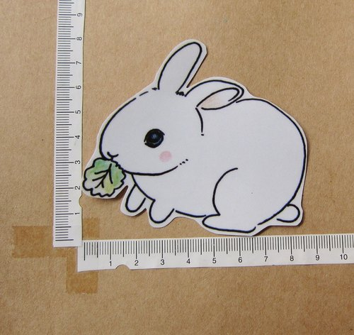 手绘插画风格 完全防水贴纸 贪吃小白兔