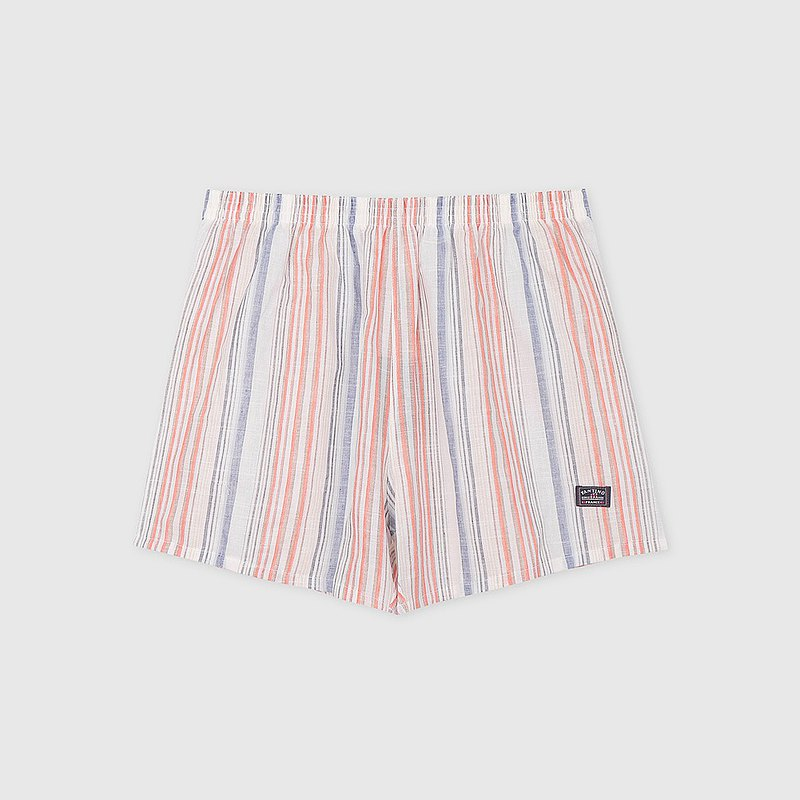 [Boyfriend Gift/Free Shipping] Cotton and Linen Straight Striped Men's Boxer/Pant Pants│Orange